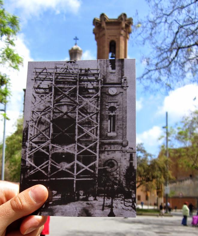 Reparació de la façana de l'església per les esquerdes provocades pel metro // Cristina Pla. Autor desconegut. Arxiu Agrupació Excursionista Muntanya