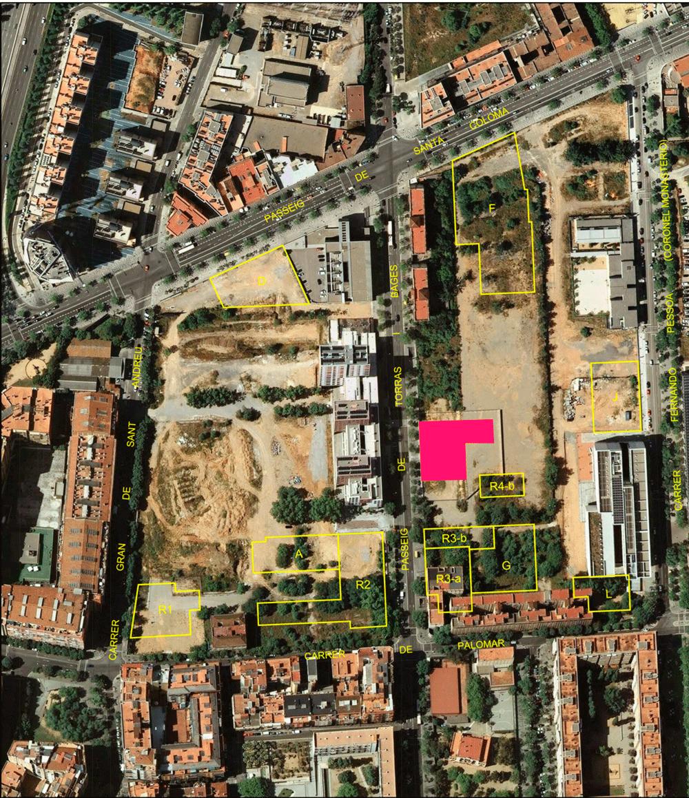 En color rosa, la superfície que ocuparà l'edifici de reallotjats / CZF