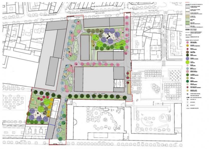 Plànol de la futura configuració de l'illa verda / Bagursa