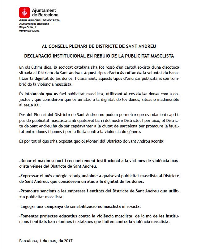 Declaració institucional presentada amb caràcter d'urgència per Demòcrates
