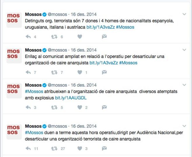 Els Mossos d'Esquadra justifiquen les detencions a través del seu compte de Twitter / ARXIU