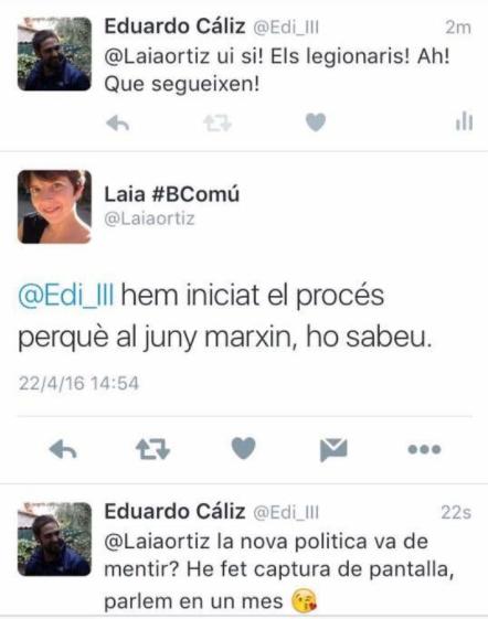 Conversa pública a Twitter entre el militant de la CUP-Capgirem Barcelona, Eduardo Cáliz, i l'aleshores regidora de Sant Andreu, Laia Ortiz / ARXIU