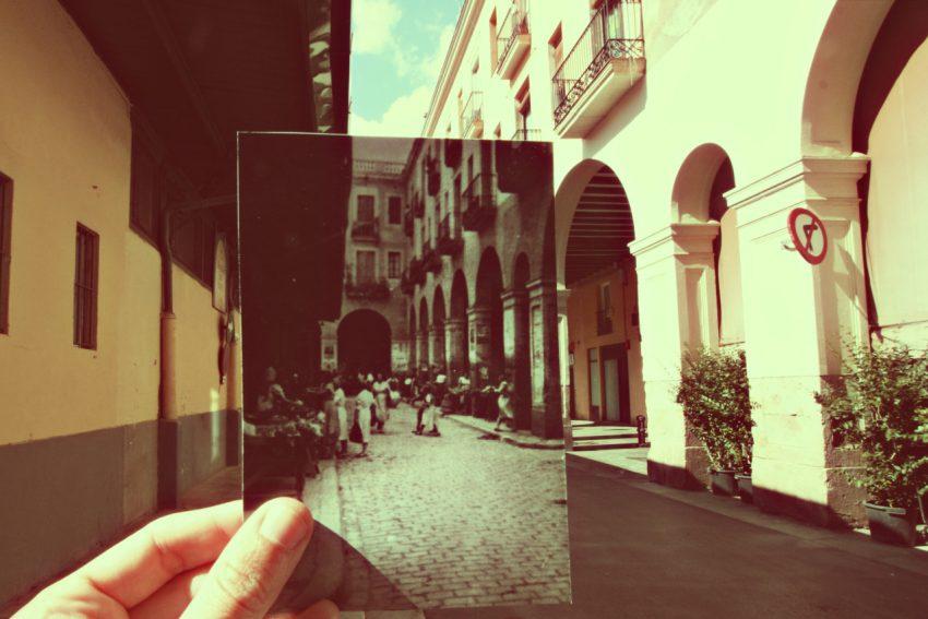 El Mercat de Sant Andreu de Palomar el 18 de juliol de 1951. Imatge original- Joan Flaquer. Publicada per Lluïsa Flaquer al grup de Facebook Sant Andreu de Palomar Abans / @resantandreu
