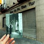Joan Marí i les dues forneres de Can Tur al carrer Virgili als anys 30. Imatge original: autor desconegut. Fons Família Viader-Marí. Font: L'Abans de Sant Andreu de Palomar, p. 350.