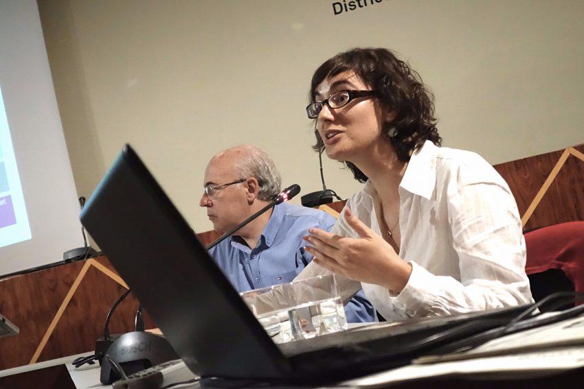 La regidora de Mobilitat, Mercedes Vidal, en la presentació dels carrils bici / DGM