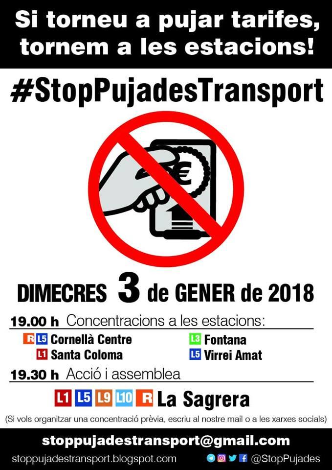 Cartell de la convocatòria / STOP PUJADES TRANSPORT