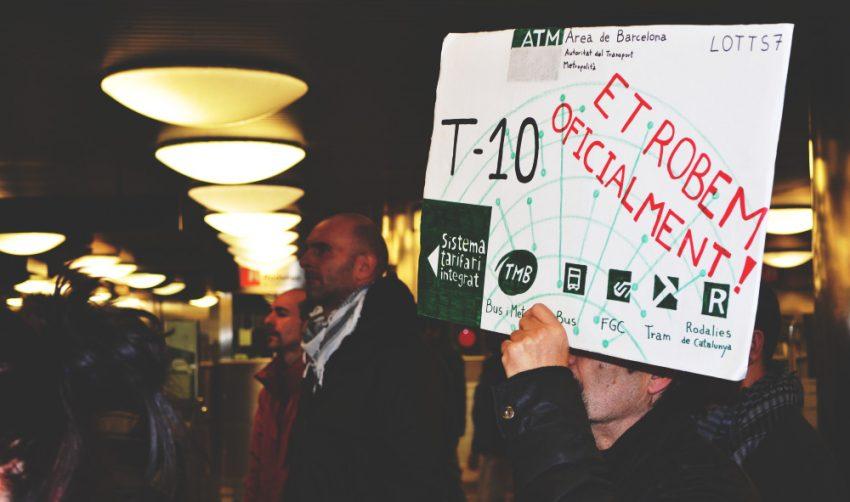 Protesta a l'estació de La Sagrera, el passat 30 de gener del 2014 / DGM