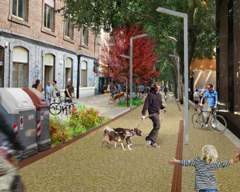 Recreació virtual de com quedarà la reforma del carrer Gran de Sant Andreu / BIMSA
