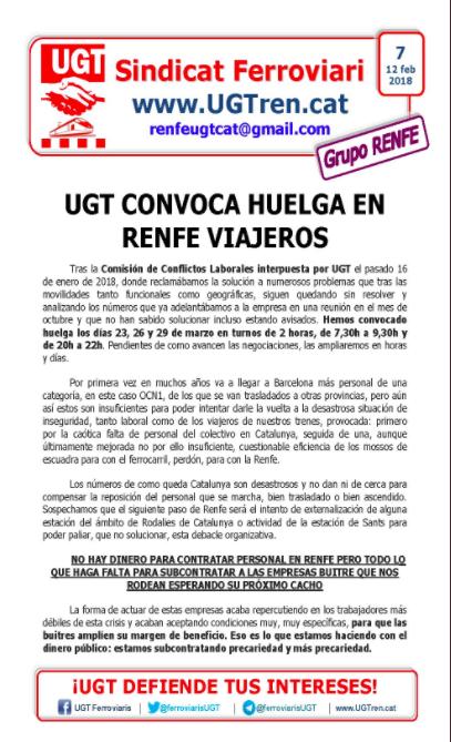 Comunicat d'UGT Renfe / ARXIU