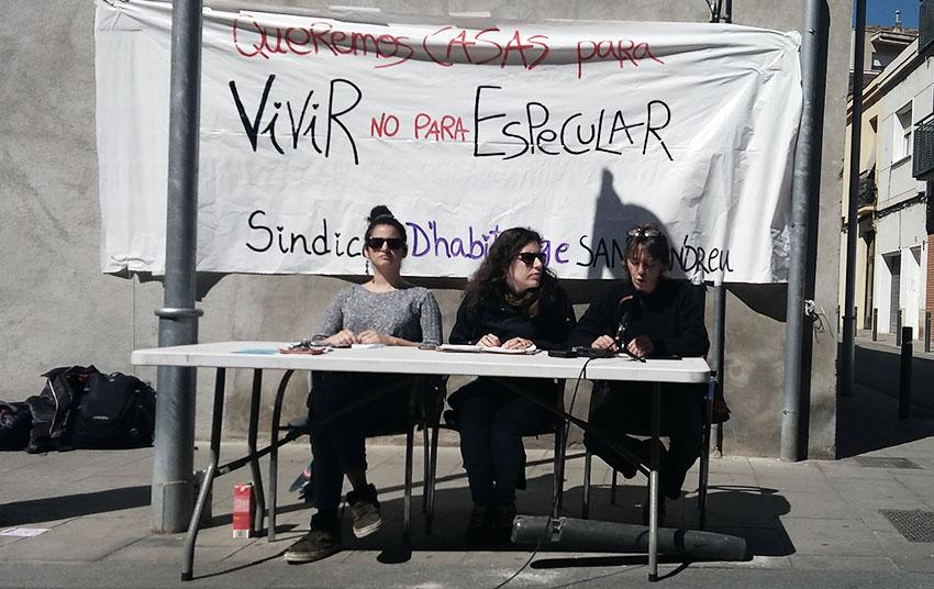Roda de premsa del Sindicat d'Habitatge de Sant Andreu d'aquest dilluns / CEDIDA
