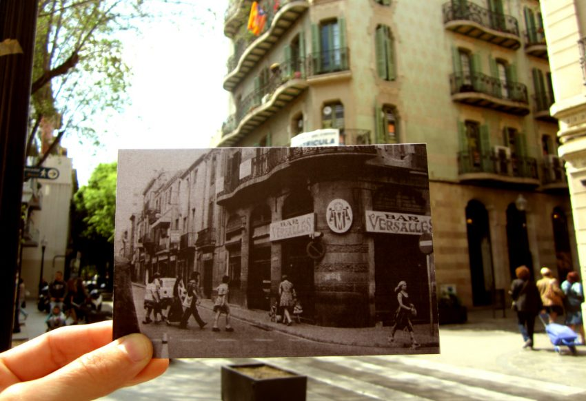 Bar Versalles, al carrer Gran de Sant Andreu 255 (edifici de Can Vidal) a inicis dels anys setanta. / Imatge original publicada pel Pau Vinyes Roig al grup de Facebook Sant Andreu de Palomar Abans. Autor desconegut. Fons Teresa Torrents. @resantandreu