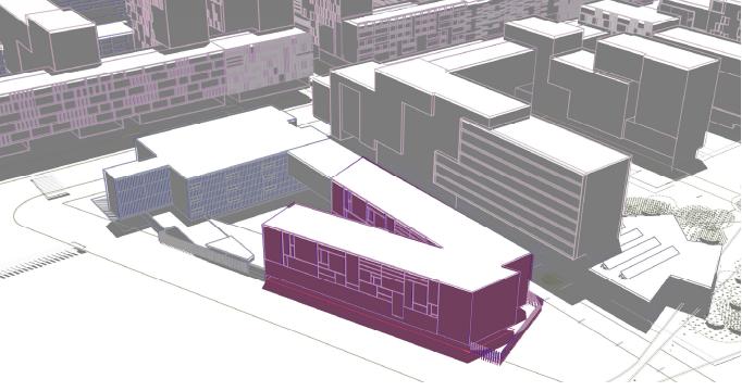 En color lila, l'Edifici que s'ha d'aixecar rere la comissaria dels Mossos d'Esquadra / ARXIU