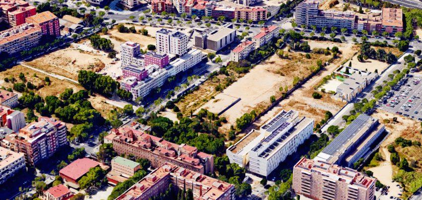 Casernes des de l'aire. Google Earth