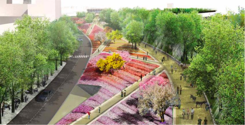 El Parc del Cami Comtal, a l'alçada de Sant Andreu de Palomar / PLA DIRECTOR