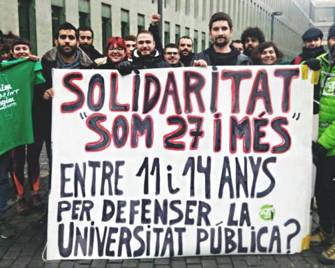 Posada en llibertat del veí de Sant Andreu a la Ciutat de la Justícia / @SOM27IMES